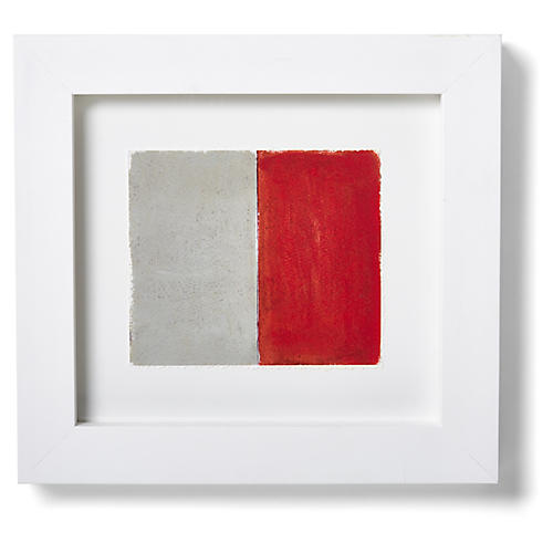"Nautical Framed ""H"" Flag Signal Print, Red/White"