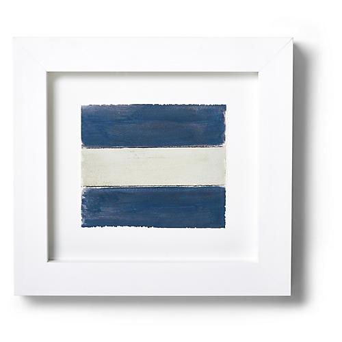 "Nautical Framed ""J"" Flag Signal Print, Blue/White"