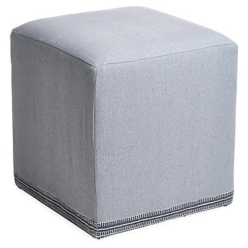 Azur Cube Ottoman, Navy/Cream