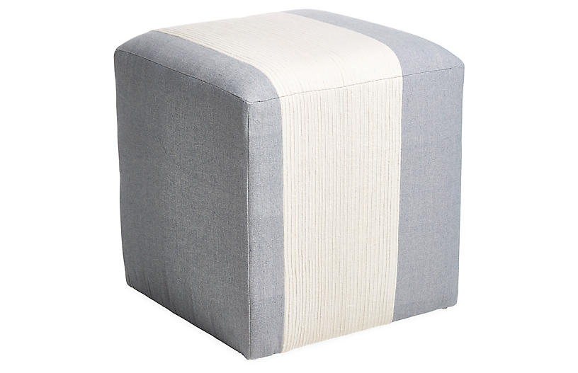 Azur Cube Ottoman, Light Blue/Cream