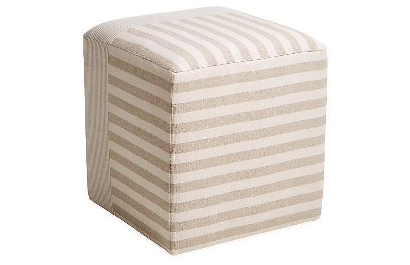 Azur Cube Ottoman, Beige/Cream