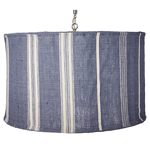 Suffolk Slipcover Pendant, Navy/Natural