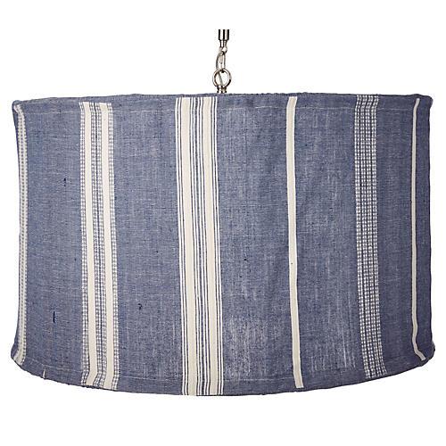 Suffolk Slipcover Pendant, Navy/Natural