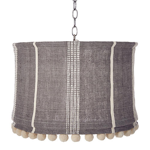 Suffolk Slipcover Pendant, Gray/Natural