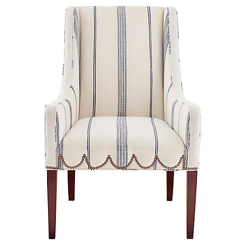 Chelsea Accent Chair, Ivory/Navy