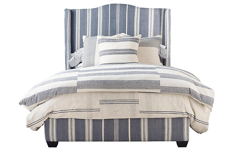 Emerson Panel Bed, Navy/Ivory