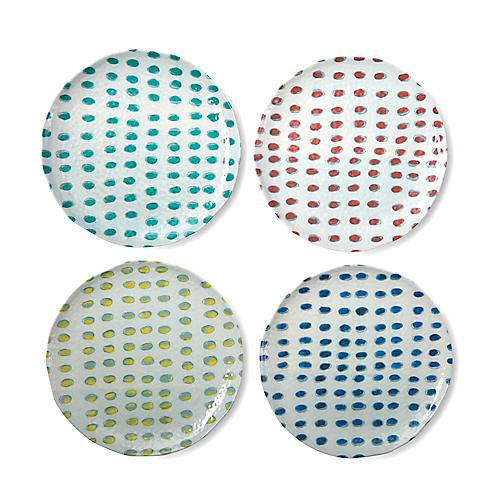 Asst. of 4 Dot Melamine Dinner Plates, White/Multi
