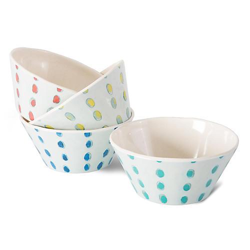 Asst. of 4 Dot Melamine Bowls, White/Multi