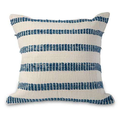 Antigua II 18x18 Pillow, Blue/Cream