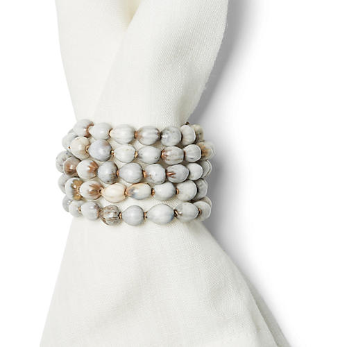 S/4 Seed Napkin Rings, Gray/White