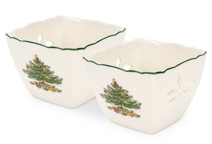 S/2 Spode Christmas Tree Votives
