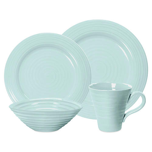 4-Pc Porcelain Place Setting, Turquoise
