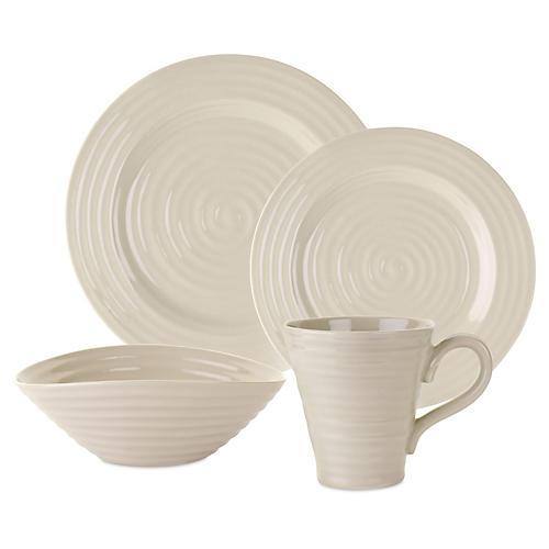 4-Pc Porcelain Place Setting, Beige