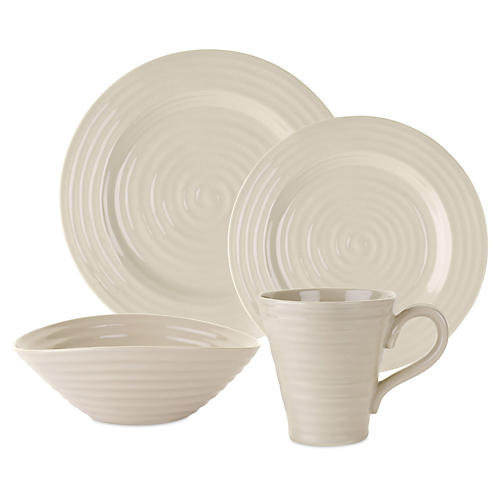4-Pc Porcelain Place Setting, Beige