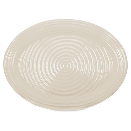 Porcelain Oval Platter, Beige