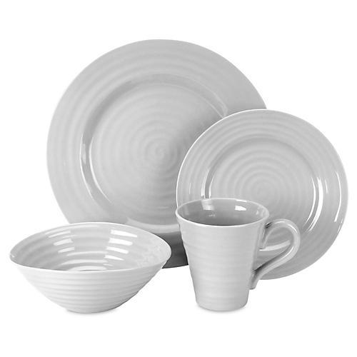 4-Pc Porcelain Place Setting, Gray