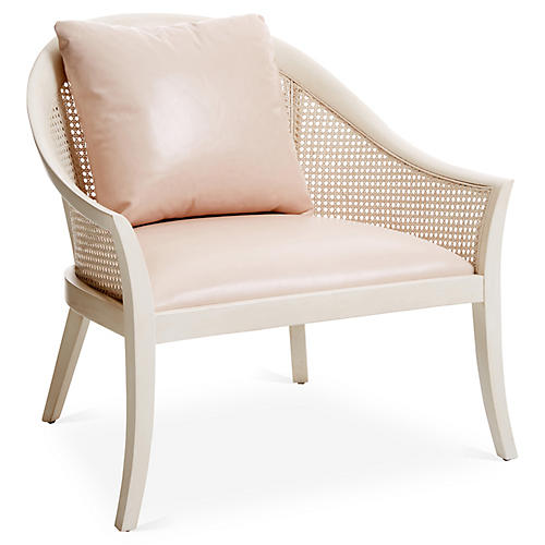 Biloxi Cane Accent Chair, Blush Leather
