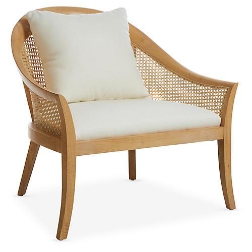 Biloxi Cane Accent Chair, Pecan/White
