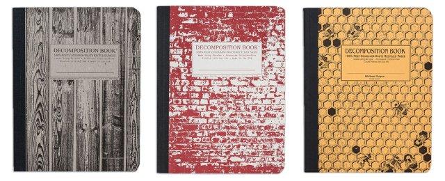 S/3 Notebooks, Wood, Honeycomb, Bricks