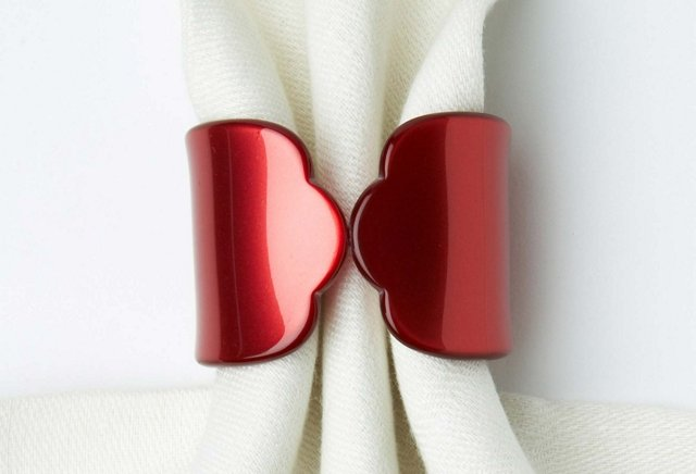 S/4 Old-Fashion Napkin Rings, Red