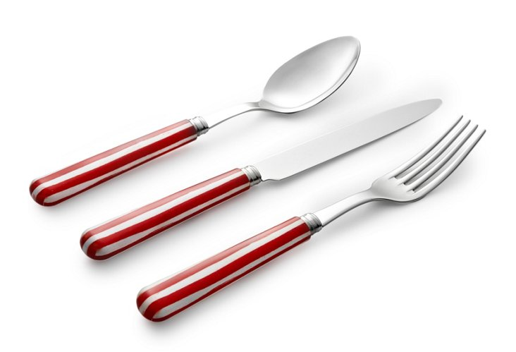 3-Piece Stripe Place Setting, Red