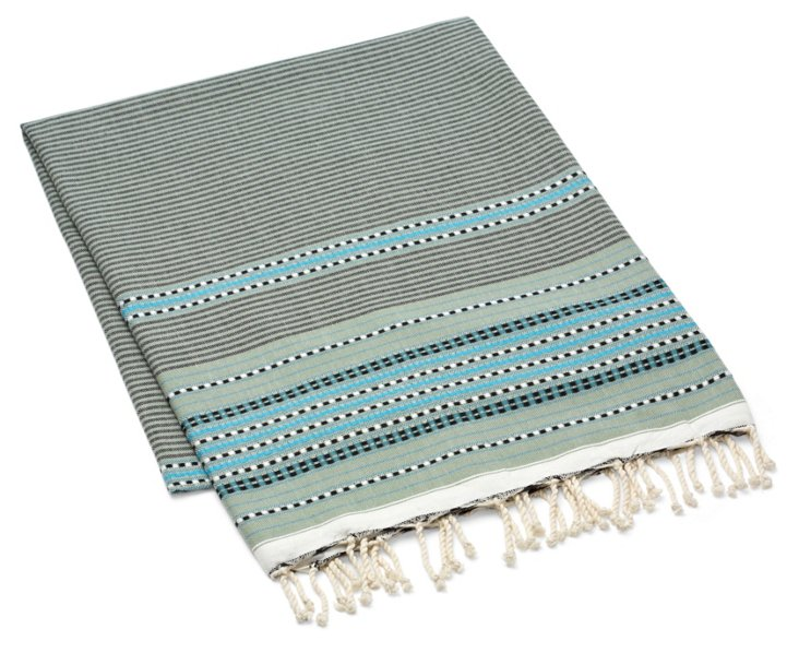 Fouta Multi Striped Towel, Light Green