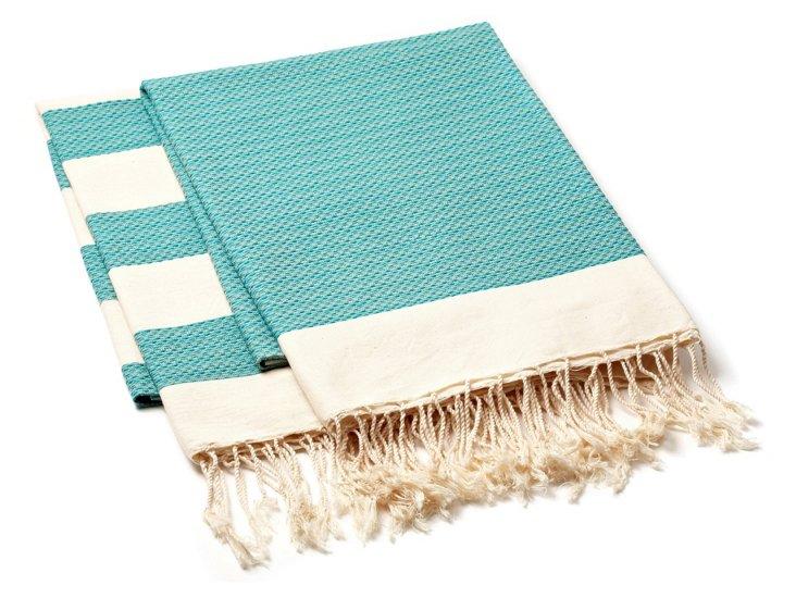Set of 2 Chine Towels, Aqua