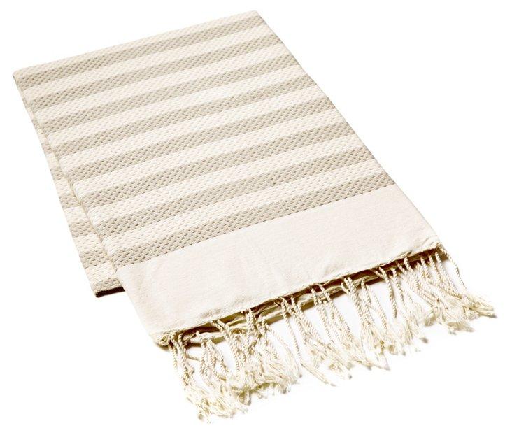 Fouta Small Striped Towel, Beige