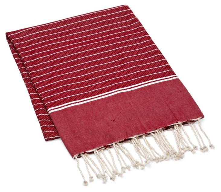 Fouta Irregular Striped Towel, Red