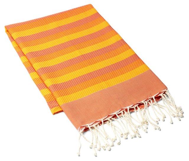 Fouta Towel Tricolor, Orange/Yellow