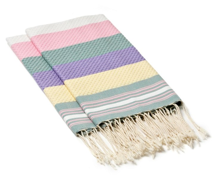 S/4 Fouta Hand Towels, Pastel