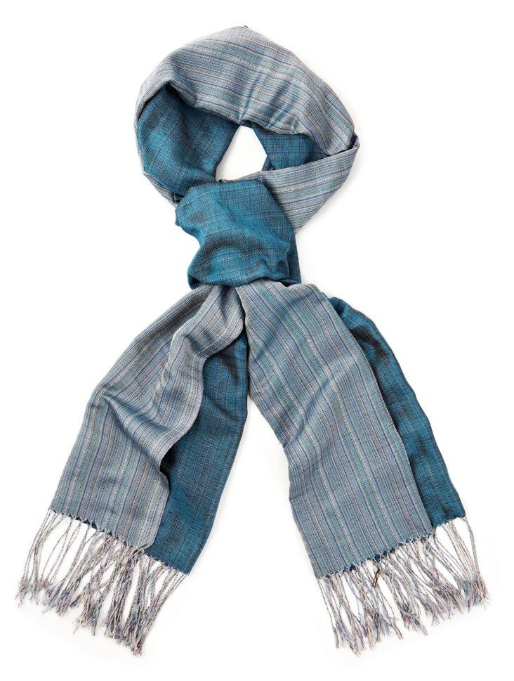 Silk Chine Scarf, Blue
