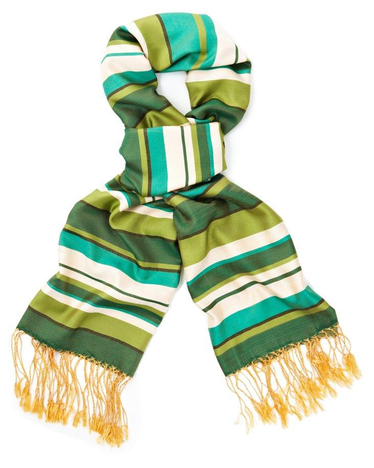 Multi Band Silk Scarf, Green/White