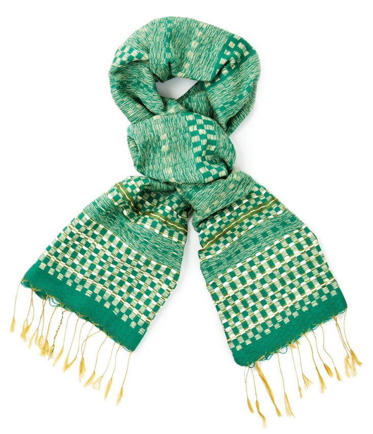 Cotton/Silk Striped Scarf, Green