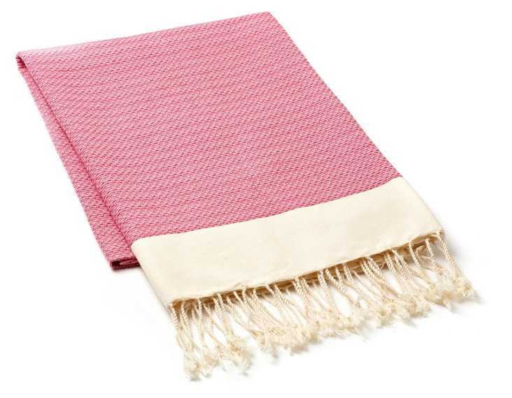 Solid Chine Fouta Towel, Pink