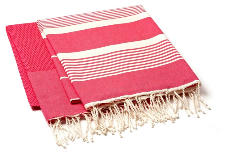 S/2 Fouta Towels, Dark Fuchsia