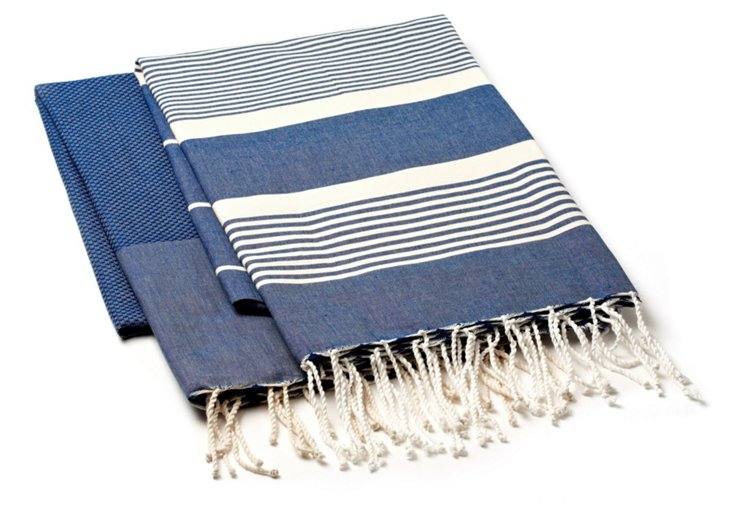 Set of 2 Fouta Towels, Dark Indigo/Cream