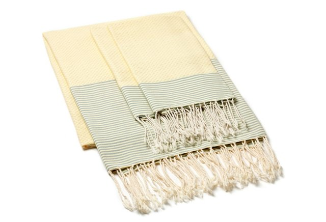 Fouta Towel & S/2 Hand Towels, Straw/Grn