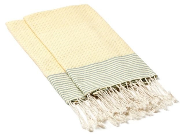 S/4 Hand Towels Stripes, Straw