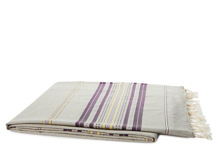 Striped Cotton Throw, Gray