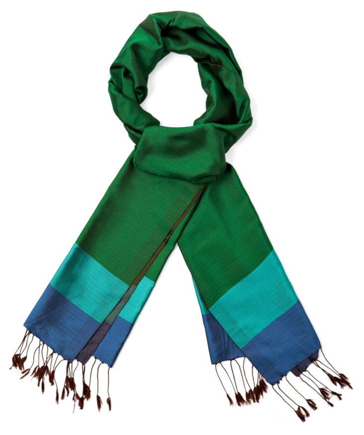 Small Stripe Silk Scarf, Green/Turquoise