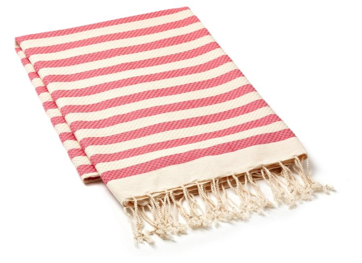 Stripe Fouta Towel, Pink