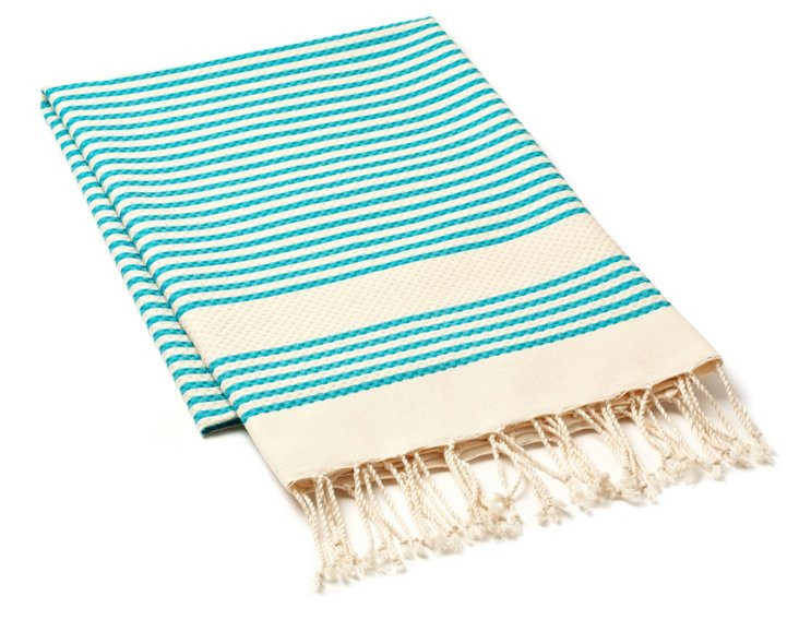Tiny Stripe Fouta Towel,  Aqua
