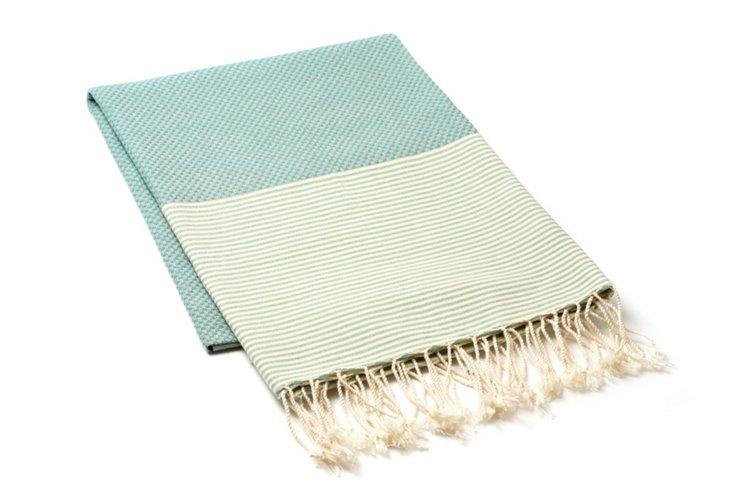 Fouta Thin Stripes, Green/Straw