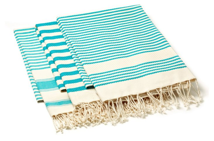 S/3 Stripe Foutas, Aqua