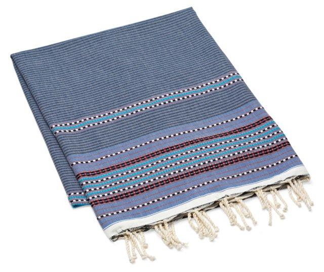 Fouta Multi Striped Towel, Light Blue