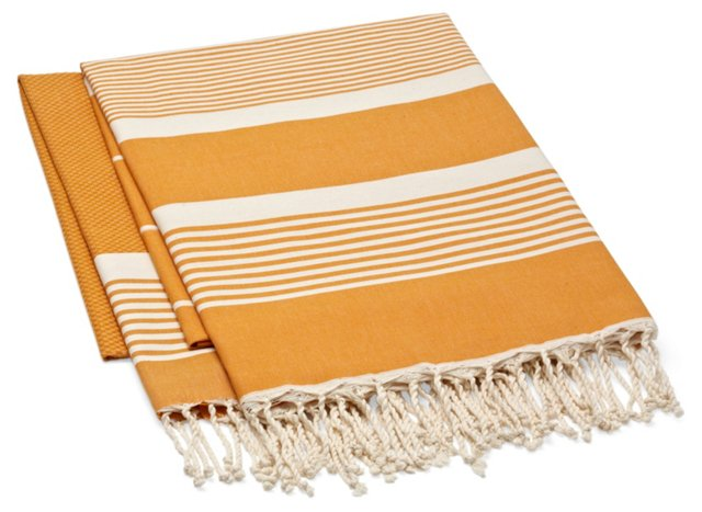 S/2 Fouta Stripe Towel, Orange