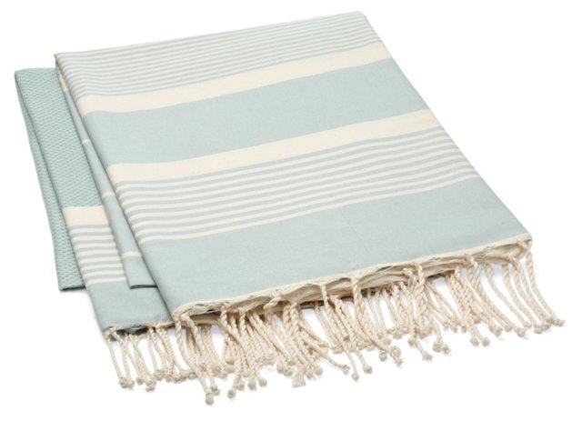 S/2 Stripe Fouta Towels, Light Blue