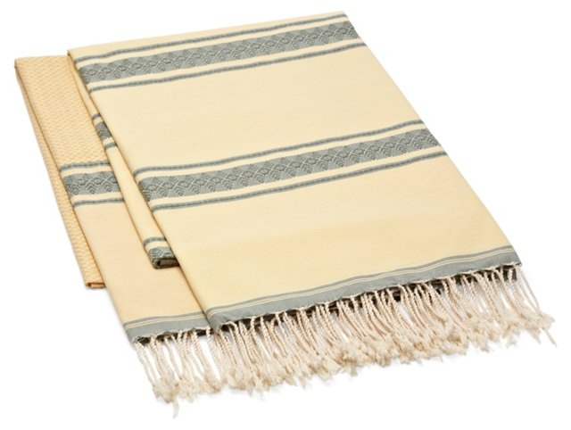 S/2 Fouta Large Striped Towels, Straw