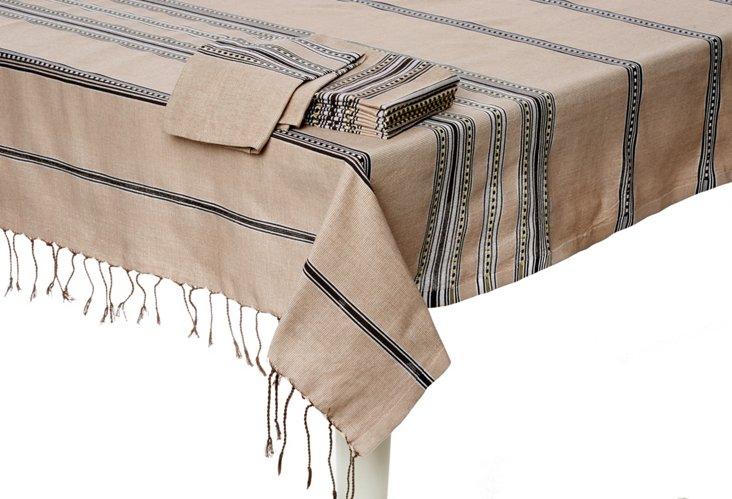 Tablecloth & S/6 Napkins, Beige/Black
